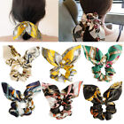 Floral Printed Bow Streamer Scrunchies With Pearl Ponytail Hair Rope Hair Ties