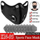 Reusable Face Mask With Breathing Valve Activated Carbon Mouth Cover Filter Pads