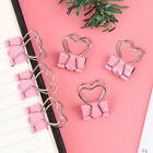 1/6pcs Pink Clip Heart Hollow Out Metal Binder Clips Notes Letter Paper C Wf