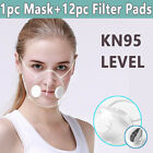 Reusable Clear Face Masks &12pc Filters Anti-droplets Respirator Face Mouth Mask