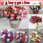 21head Artifical Plastic Rose Silk Flower Wedding Bouquet Office Home Decor Fc