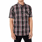 LRG Men's Suspension Short Sleeve Buttondown Shirt Black Onyx Clothing Casual
