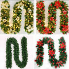 Gold Christmas Decor Light up Garland Fireplace Tree DIY 2.7M HOME OUTDOOR PARTY