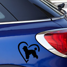 Poodle Love Heart Sticker For Car Glass Window Laptop Dog Decal
