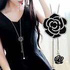 Pearl Crystal Leaves Flowers Geometric Long Sweater Chain Pendant Necklace Women