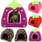Strawberry Pet Cat Dogs Fleece Washable Igloo Pyramid Cozy Kennel Soft House Bed