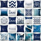 Throw Pillow Cover Blue White Decorative Double-sided Soft Cushion Case 18x18""