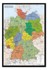 Framed Germany Map Wall Chart Poster Ready To Hang - Choice Of Frame Colours
