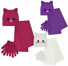 Girls Cat Hat Scarf And Gloves Set 3 Pieces Warm Winter New Sets Age 5-12 Years
