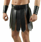Mens Real Cowhide Leather Black Heavy Duty Gladiator Kilt Set Halloween LARP