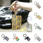 Lady Faux Leather Leaf Leopard Print Coin Pouch Wallet Key Card Mini Bag