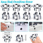 8/16Pcs Kitchen Bathroom Basin Sink Overflow Ring Insert Chrome Hole Cover Round