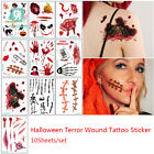 10sheets Halloween Tattoo Sticker Wound Scar Bruise Decoration Zombies Cosplay