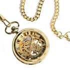 Luxury Men Gold Skeleton Mechanical Pocket Watch Retro Chain Hand-Winding