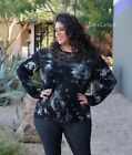 VOCAL PLUS SIZE Women CRYSTAL BLACK TIE DYE LASER TUNIC SHIRT BLOUSE 1X 2X 3X