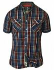 D555 Men's Elias Regular Short Sleeve Check Shirt Shirts Top Small / Chest 36-38