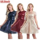 US Women Sequin Shiny Dress Short Sleeve Bridesmaid A-line Skater Dress Casual