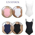 US Women Adult Girls Ballet Dance Bodysuit Solid Gymnastic Leotard Stage Costume