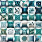18x18' Cushion COVER Teal Blue White Double Sided Decorative Throw Pillow Case