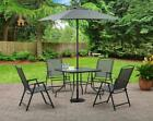 Outdoor Patio Dining Set 6 Pcs Chairs Table Umbrella Home Garden Yard Furniture