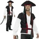 Adult Aye Pirate Captain Costume Mens Buccaneer Fancy Dress Outfit New