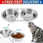 NEW STAINLESS STEEL DOUBLE PET DOG BOWLS ADJUSTABLE HEIGHT STAND FEEDING STATION