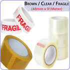STRONG LONG LENGTH TAPE CLEAR / BROWN / FRAGILE 48mm x 91M PACKING PARCEL TAPE