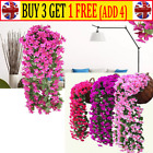 Artificial Fake Hanging Flowers Vine Plant Garland Home Garden Decor Outdoor Uk