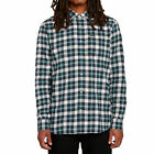Volcom Mens Repeater Flannel Long Sleeve Buttondown Shirt Green Clothing Appa...