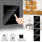 1-4 Gang Tempered Mirror LED Light Wall Free Click Switch Home Push Button R