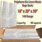 Large Plastic Clear Polythene Bin Liners Waste Bags Sacks Size 18