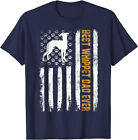 Best Whippet Dog Dad Ever American Flag Gift T-Shirt - Navy