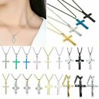 Simple God Cross Stainless Steel Zircon Crystal Pendant Chain Necklace Jewelry