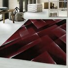 COSTA MODERN CONTEMPORARY GRAPHIC DESIGN RED, BLACK, BROWN AND PINK SOFT RUG