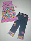 New Lipstik Happy Daisy Ruffle Top Crop Pant-3T 4T