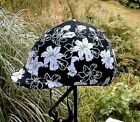helmet cover - black w white flowers - small or medium