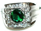 Men's Green Amethyst Platinum Overlay Ring R4