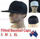 Plain Fitted Baseball Hip Hop Sports Hat Flat Peak Brim 7 / 7 1/4 / 7 1/2 S - XL