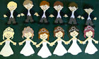 Small Bride and Groom Toppers for Scrapbook, Cards, Gift tags or Place cards.
