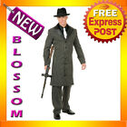 C422 Mens 1920s Gangster Suit Long Jacket Fancy Halloween Adult Costume L XL