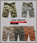 NEW MENS FOXJEANS CARGO SHORTS-SIZE 30-44, Camouflage & SaddleBrown