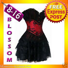 CC13 Burlesque Showgirl Black Red Satin Lace Corset Costume Moulin Rouge Skirt