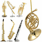 Gold Plated Minature Musical Instrument Figurine / Ornament ~ Clarinet~ Sax~Horn