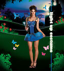 Sexy Adult Halloween Light-Up Blue Butterfly Beauty Costume w Wings