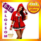 F43 Ladies Little Red Riding Hood Party Fancy Dress Up Halloween Costume Outfit
