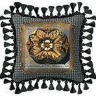 Medallion Ornate Floral & Houndstooth Design Woven Art Tapestry Pillow