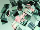 BLACK & CLEAR IRIDESCENT BAROQUE handcut stained glass mosaic tiles #79
