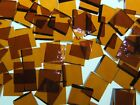 DARK AMBER ROUGH ROLLED handcut stained glass mosaic tiles #115