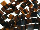 BROWN ON GOLD SWIRL handcut stained glass mosaic tiles #217