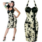 BANNED PIN UP FLORAL WIGGLE DRESS EMO PENCIL RETRO GOTHIC SEXY VINTAGE ROCK ROLL